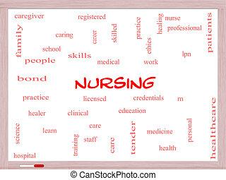 enfermería, palabra, nube, concepto, whiteboard