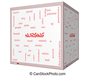 Nursing Word Cloud Concept on a 3D cube Whiteboard with...