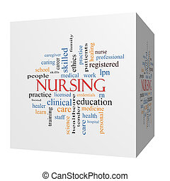 Nursing 3D cube Word Cloud Concept with great terms such as...