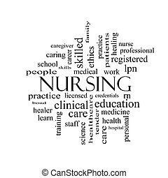 Nursing Word Cloud Concept in black and white with great...