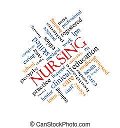 enfermería, palabra, nube, concepto, angular