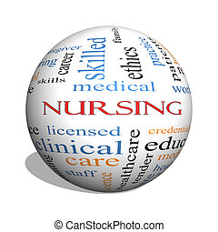 Nursing 3D sphere Word Cloud Concept with great terms such...