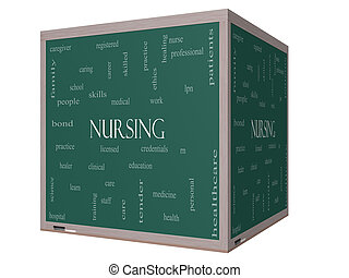 Nursing Word Cloud Concept on a 3D cube Blackboard with...