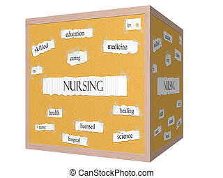 Nursing 3D cube Corkboard Word Concept with great terms such...