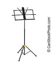 Empty music stand isolated on white
