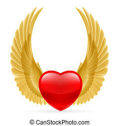 Heart with wings up - Red heart with golden yellow wings up.