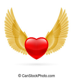 Heart with raised wings - Red heart with raised golden...