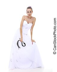 Wedding day. Bride with black flogging whip isolated -...