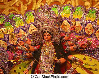 Statue of Goddess Durga - A statue of Goddess Durga during a...