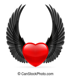 Heart with wings up - Red heart with black crow wings up.