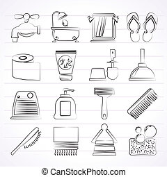 Bathroom and Personal Care icons - vector icon set 1