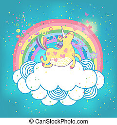 Unicorn rainbow in the clouds - Card with a cute unicorn...