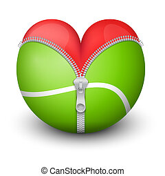 Red heart inside tennis ball Symbol of love for the sport