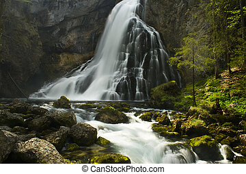rapids - big waterfall with rapids in the alps