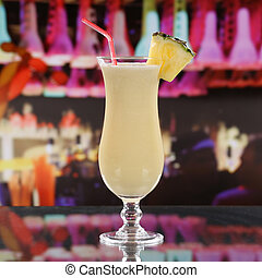 Pina Colada cocktail in a bar, disco or a party