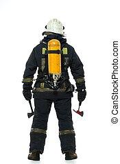 brandweerman, bijl, zuurstof, balloon, Vrijstaand, witte