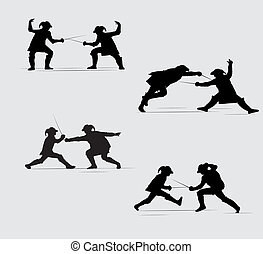 silhouettes Musketeers - two silhouettes fighting with...
