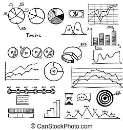 Business and finanse hand draw doodle elements graph chart...