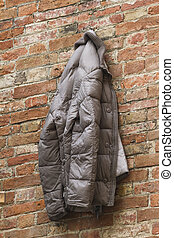 jacket hanging on the old wall