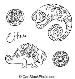 Cute chameleon and flowers in ethnic style - Chameleons and...