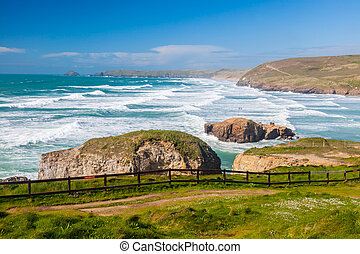 Perranporth Beach England UK - Overlooking Perranporth Beach...