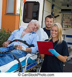 對待, 擔架, 病人, 緊急事件, 隊