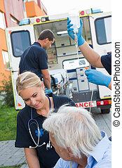 傷害, 病人, 幫助, 街道,  paramedical, 隊
