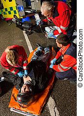 傷害, 駕駛員, 幫助,  paramedical, 摩托車, 隊