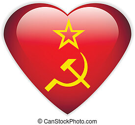 USSR flag button. - USSR flag button on a white background....