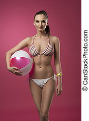 bikini girl with beach ball - summer portrait of sexy woman...