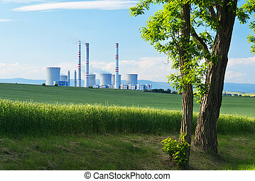 Power Statin - landscape with a tree and power station