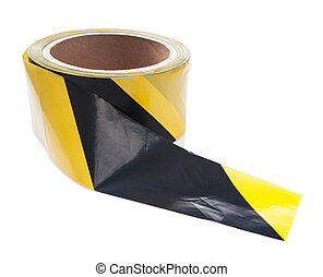 roll of black yellow caution tape isolated