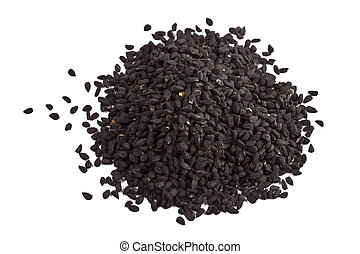 Pile of kalinji spice isolated on white background