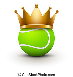 Tennis ball with royal crown. King of sport. Traditional...