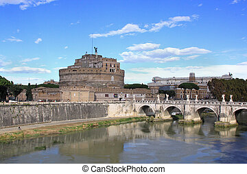 Sant Angelo bridge - Bridge Sant Angelo over Tiber river in...