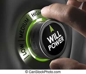 Will Power Concept - Fingers turning a willpower button and...
