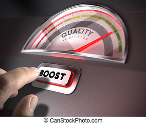 Quality Management Concept - Quality indicator dial, index...