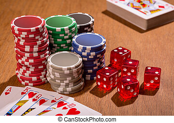 Poker - A set of poker chips and cards