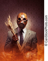 Contaminated food and pollution. - Man wearing a gas mask...
