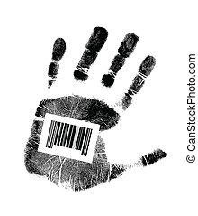 barcode hand illustration design