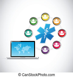 diverse group of people medical network illustration design...