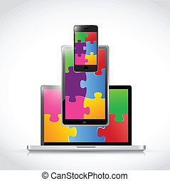electronics puzzle pieces tablet screen illustration design...