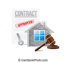 business real estate contract illustration design over a...