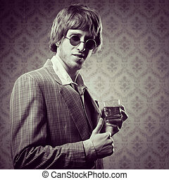 VIntage guy having a strong drink - Funny guy holding a...