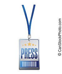 press pass tag illustration design