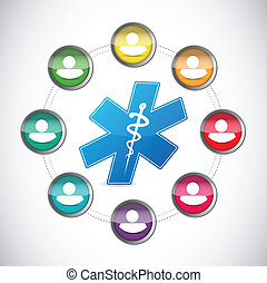 medical diversity network illustration design over a white...