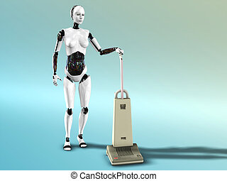 Female robot vacuum cleaning - A female robot doing some...