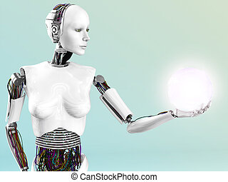 Robot woman holding energy sphere.