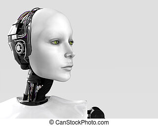 The face of a robot woman - A robot woman head isolated on...