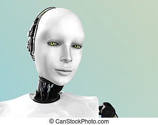 The face of a robot woman. - An image of a robot woman\'s...